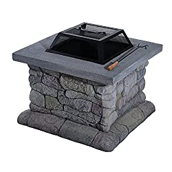 Outsunny Square Outdoor Fibreglass Stone Effect Patio Fire Pit - Grey