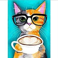 塗装キットDIYダイヤモンド刺繍コーヒーと猫クロスステッチ動物フルモザイクアートダイヤモンド塗装ラインストーン刺繍
