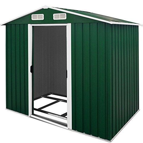 *Deuba XL Metall Gerätehaus 4,2m³ mit Fundament 210x132x186cm Schiebetür Grün Geräteschuppen Gartenhaus Schrank*