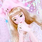 NLRHH 1/3 24', 60cm Fashion Girls Ball Jouet jointe avec Accessoires de Costume de Perruque Blonde Maquillage, Cadeau d'anniversaire génial Peng