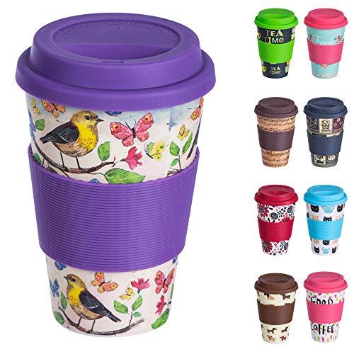 Bamboo Cup Wiederverwendbare Kaffeebecher aus Bambus mit Silikonhülle, Dichtungsdeckel und Schluckloch - Öko-Tasse aus Bambus, lebensmittelecht, spülmaschinenfest (400 ml) Vögel