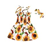 JUNLIN Baby Girl Boutique Clothing Summer Sunflower Printing Plaques Princess Skirt Seaside Beach 6-12 Months Dresses for Teen Girls Length Bodycon Dress(Yellow,5)