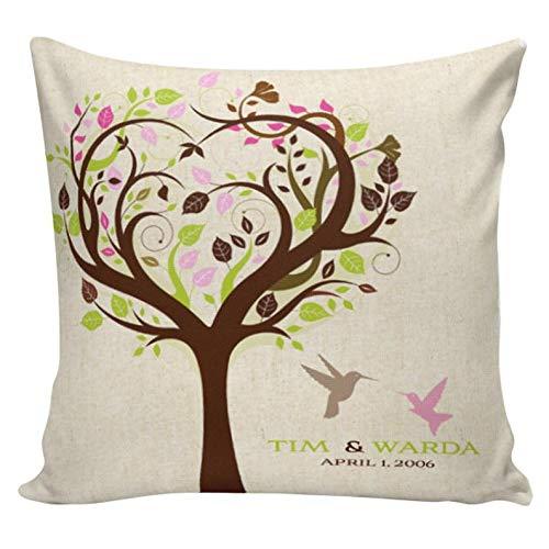 Yor242len Regalo de boda, almohada de boda, aniversario de algodón, pájaros personalizados de algodón y arpillera elige tu nombre y fecha