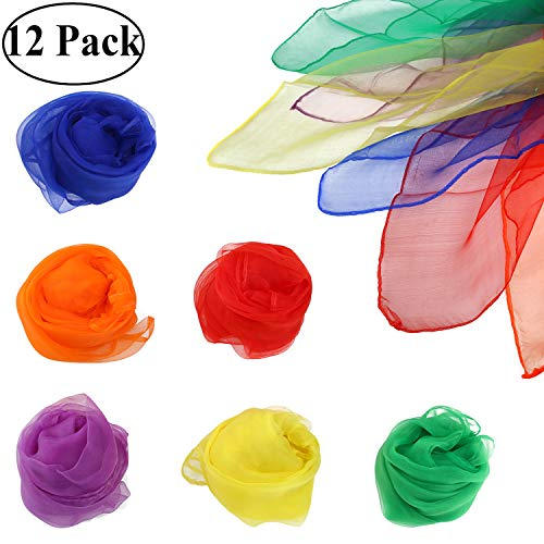 Ouinne 12 Stück Tanz Jonglier Tücher Schals, Tanz Tücher Square Jongliertücher Magic Schals Kinder Spielen Sinnesspielzeug für Kleinkinder Babys