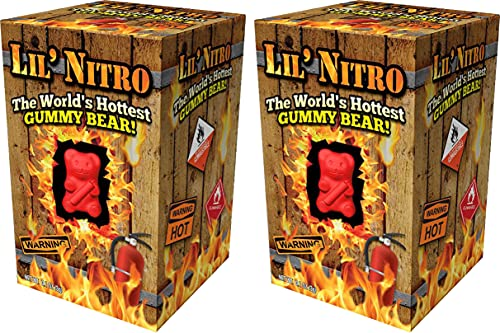 LIL' NITRO (2-Pack) The World's Hottest GUMMY BEAR! - Extreme Spicy Candy - Red Gummy Bear