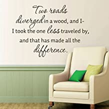 MairGwall Inspirational Decor- Two Roads Diverged in a Wood - Literary Quote Mural Teen Bedroom Wall Graphics (Black,Small)