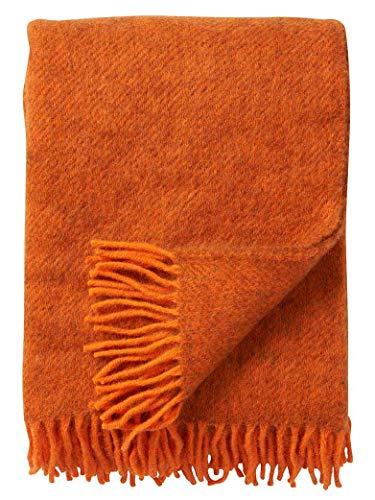 Gotland KLIPPAN orange-braun melierte Wolldecke 100% Gotlandwolle, 130x200cm