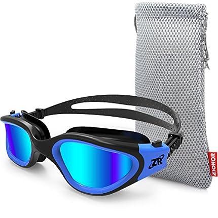 ZIONOR Gafas de Natación, G1 Gafas de Natación Polarizadas con Lente de Espejo/Humo Anti-Niebla y Protección UV Estanco para Hombres Unisex Adulto Mujeres Adolescentes