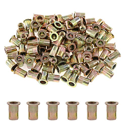 "Glarks 100Pcs 1/4""-20UNC Zinc Plated Carbon Steel Flat Head Rivnut Threaded Insert Nuts Set (1/4""-20UNC)"