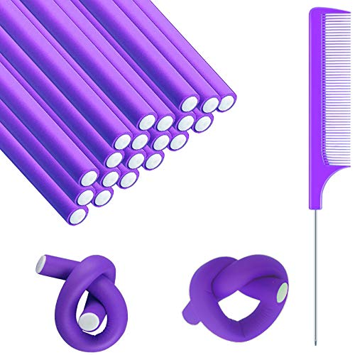 20 Pieces Flexible Curling Rods,Twist Foam Hair Rollers,Soft Foam No Heat Hair Rods Rollers with 1 Steel Pintail Comb Rat for Women Girls Long and Short Hair,0.55 inch,Purple