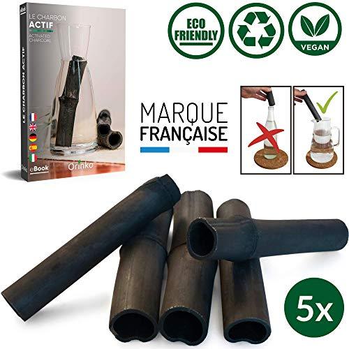 Binchotan Bio 5x | Charbon Actif Binchotan de Bambou pour Purification d'Eau en Carafe | Passez-vous des Eaux en Bouteille Grâce à notre Charbon Actif [𝗦𝗮𝘁𝗶𝘀𝗳𝗮𝗶𝘁 𝗼𝘂 𝗥𝗲𝗺𝗯𝗼𝘂𝗿𝘀𝗲]