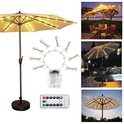 Atio Umbrella Lights, Parasol Led String Pole Lighting Remote Control Cordless Dimmable Waterproof Ip67 For Outdoor Beach,Restaurant,Swimming Pool,Camping Tent,Garden,Backyard,Wedding,Yellow