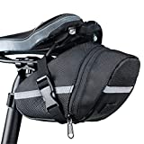 JKRED Outdoors Bicycle Waterproof Storage Saddle Bag Road Mountain Bike Seat Cycling Tail Rear Pouch (Black)
