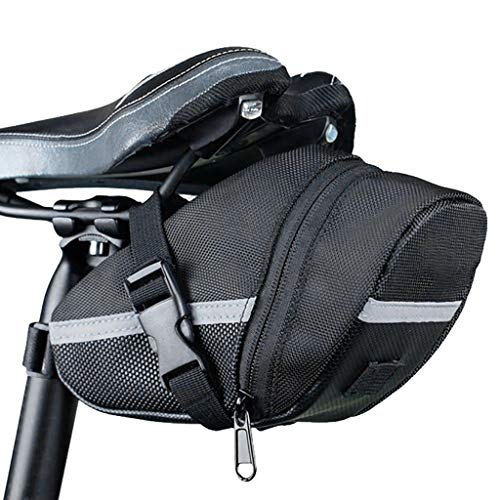 Fewear Bicycle Strap-On Bike Saddle Bag/Seat Bag/Cycling Bag/Bicycle Seat Pack Bag/Waterproof Bike Bag Back Seat Pouch/Storage Seat Cycling Tail Rear Pouch/Bicycle Panniers (Black)