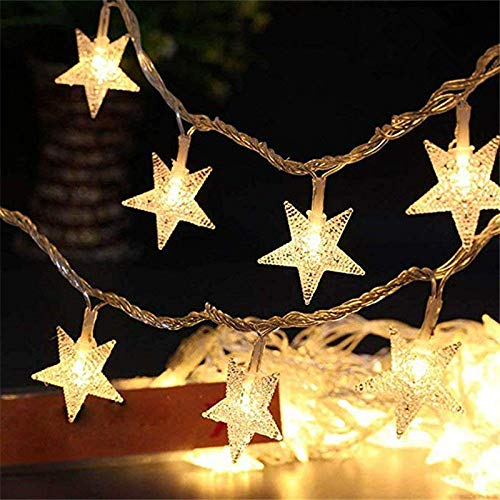 MHBY LED Lights. 10Leds Christmas Tree Stars LED String Fairy Lights Christmas Party Christmas Family Wedding Garden Garland Christmas LED Lights Decoration | LED String.