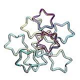 10pcs llavero estrella colorido pentáculo en forma de llavero colgante hebilla anillos divididos colgante DIY joyería bolso suministros
