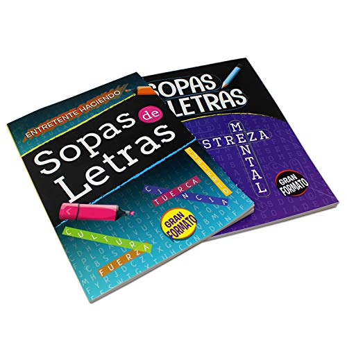 2 Pack - Spanish Word Search Book Jumbo, Sopas de Letras en Espanol Each Easy-to-See Seek & Circle. Word Find, Work Puzzle Game Book