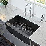Lordear 30 inch Farmhouse Kitchen Sink Gunmetal Black Apron Front 16 Gauge Stainless Steel Deep Single Bowl Kitchen Farm Sinks