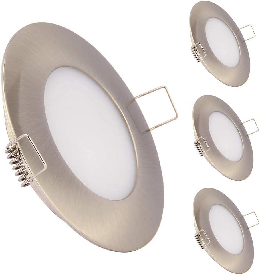 Obeaming 4 x Panel Downlight LED Redondo 12V Foco Empotrable Led Techo 6000K para Camper Caravana Barco Furgoneta Baño Cocina Muebles 3.5W 240Lumen Níquel Cepillado(Blanco Frío)