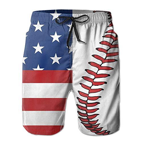 MrRui Herren Baseball-Shorts mit Spitze, schnelltrocknend, für Sommer, Strand, Surfbrett, Badehose, Cargo-Shorts, Whith Pocket Gr. S 7-9, weiß
