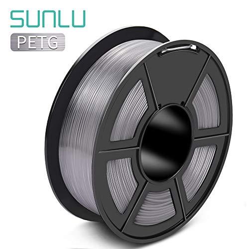 SUNLU Filamento PETG 1,75mm con Aggiornamento SUNLU Bobina da 1kg(2,2lbs), Precisione Dimensionale +/- 0,02mm, Adatta alla Maggior Parte delle Stampanti FDM, Trasparente