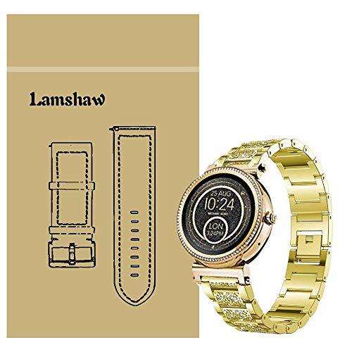 Ceston Diamante de imitación Metalica Acero Moda Correas para Reloj Inteligente Michael Kors Sofie (18mm, Oro)