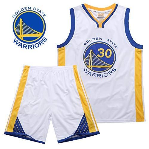 JAG Conjunto de Camisetas de Baloncesto para niños - NBA Warriors # 30 Curry Basketball Uniform Summer Shirt Vest Top Shorts para niños y niñas