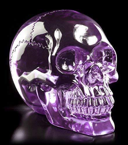 Lila Totenkopf Figur - Durchsichtig Kristallschädel-Optik Deko Skull
