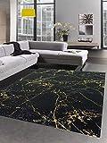 CARPETIA Teppich Wohnzimmer Designerteppich Marmor Optik schwarz Gold Größe 80 x 300 cm