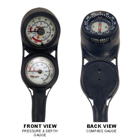 Promate Mini Scuba Diving Pressure and Depth Gauge with Compass Console (Made in Italy)