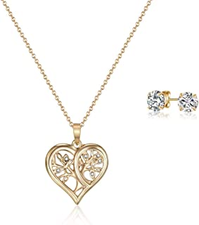 Mestige Gold Tender Tree of Life Set with Swarovski Crystals