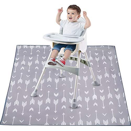 Bizcasa Splat-matta för baby barnstol, stänkmatta, 130 cm vattentät halkskydd golvmatta stökig matta, golvbordsskydd skydd bärbar lekmatta och bordsduk
