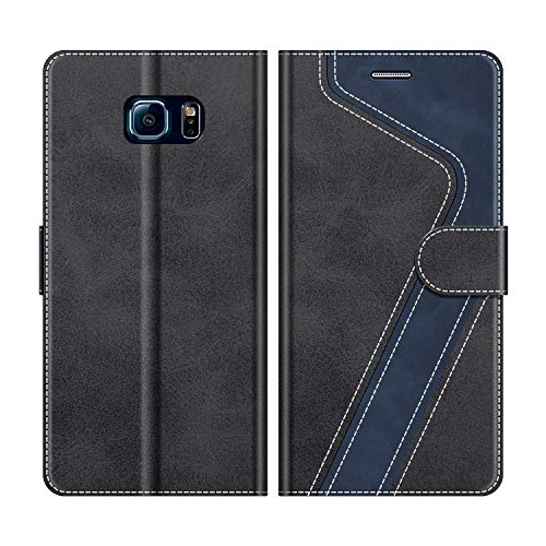 MOBESV Handyhülle für Samsung Galaxy S6 Edge Hülle Leder, Samsung Galaxy S6 Edge Klapphülle Handytasche Hülle für Samsung Galaxy S6 Edge Handy Hüllen, Modisch Schwarz