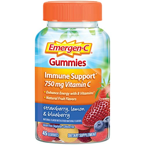 Emergen-C 750mg Vitamin C Gummies for Adults, Immune Support Gummies, Gluten Free, Strawberry, Lemon and Blueberry Flavors - 45 Count