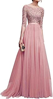 Women Chiffon Lace Hollow Bridesmaid Long Maxi Prom Backless Long Evening Dress
