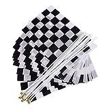Zielflagge Rennflagge, 12 Stück Schwarz und Weiß Checkered Hand Markierungsfahnen Racing Polyester Flags mit Kunststoff Stick für Motorradrennen, Bars, Clubs, Partys, Geburtstage (14 *...