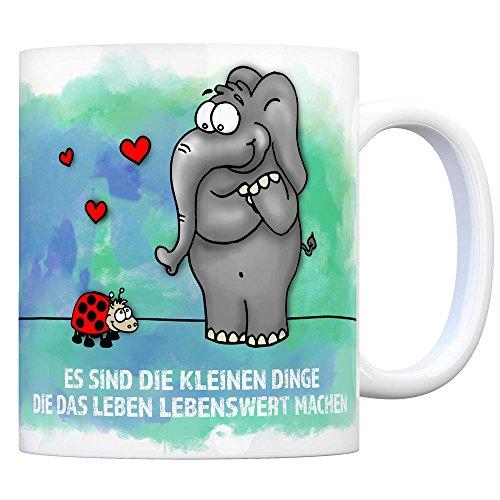 Kaffeebecher mit Elefant und Marienkäfer Motiv und Spruch: Es sind die kleine Dinge.