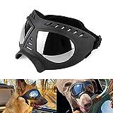 Namsan Dog Goggles Large Breed Dog UV Sunglasses Windproof Snowproof Dog Glasses for Long Snout Dogs, Soft Frame, Flexible Adjustable Straps, Black