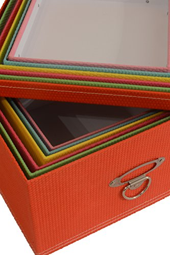 Seasonal Packaging Decorative Storage Boxes Mixed Pastel or Cream Colors - Nested, Metal Reinforced Corners, Set of 6 Assorted Sizes (Rainbow Pastel)