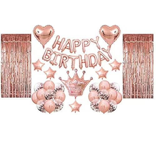 Kapsi Geburtstagsdeko Rosegold Luftballon Set Happy Birthday Girlande Rosegold Glitzer Vorhänge Rosegold Große Krone Folienballon,Konfetti Luftballons Party Deko Ballonset für Mädchen Frauen