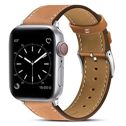 BRG コンパチブル Apple Watch バンド 本革 ビジネススタイル コンパチブル アップルウォッチバンド コンパチブル Apple Watch 6/5/4/3/2/1/SE(42mm/44mm,ブラウン)