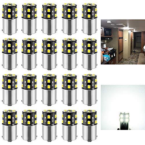 BRISHINE 20PCS 1141 1156 Interior LED Light Bulbs for RV, Super Bright 18-SMD 6000K Xenon White 1073 1003 7506 BA15S LED Bulbs Replacement for Camper Trailer Boat Indoor Lights(12V DC)