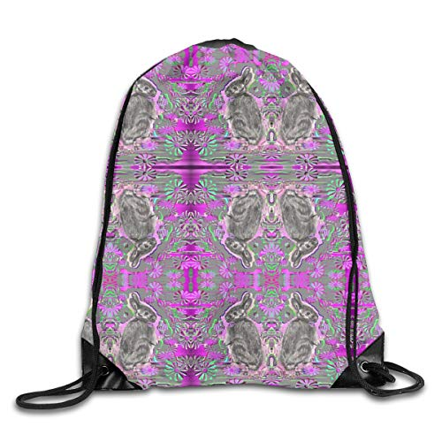 show best Bunny Garden Drawstring Gym Bag for Women and Men Polyester Gym Sack String Backpack for Sport Workout, School, Travel, Books 14.17 X 16.9 inch