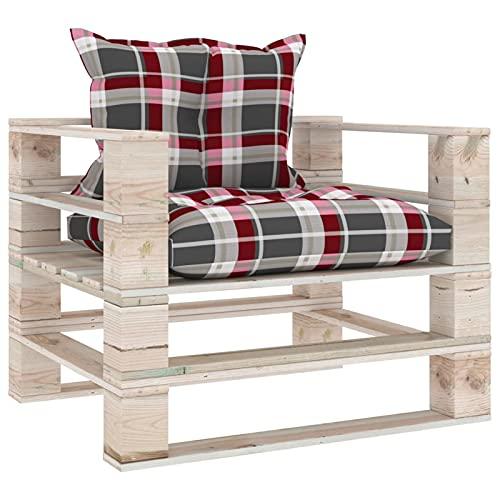 Tidyard Sofá de palets de jardín Madera de Pino Cojines a Cuadros Taburetes Sofa Jardin Exterior Sofas Exterior Conjuntos Sofa Exterior Patio Rojo