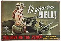 You Give Me the Stuff メタルサイン  金属 TIN SIGN お部屋 お店 壁飾り 個性 インテリア アメリカ雑貨 アメリカンブリキ看板 レトロ調  20x30cm eiwasailsors
