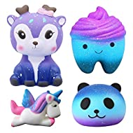 SUPER FUN GALAXY SQUISHIES: There are 4 pack slow rising squishy with unique & beautiful design, a deer squishy, unicorn squishy, tooth squishy and panda squishy is included. Be ready for showing off them to your friends! SLOW RISING STRESS RELIVER: ...