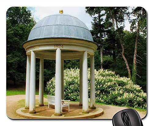 Alfombrilla de ratón para juegos Gazebo con estructura de parque natural y mesa exterior de goma, tamaño estándar, diseño de cuadros, 25 x 30 cm