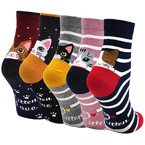 Damen Bunte Socken Lustige Socken mit Motiv Karikatur Tier Witzige Niedlich Katze Hund Coole Socken Baumwolle Weihnachten Geschenkideen für Frauen Mädchen 5 Paare, EU 35-42, 1.kätzchen