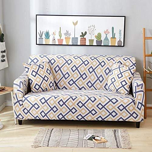 Tryckt sofföverdrag Stretch Fit Anti-halkskydd mot soffa Gul purpurfärgad modell på vit bakgrund 2-Seat 145-185cm