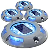 Siedinlar Solar Lights Outdoor Garden 4 Blue LED light Waterproof Deck Driveway Light